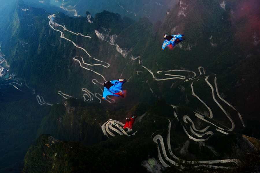Wing Suit Flying In Zhangjiajie Tianmen Mountain