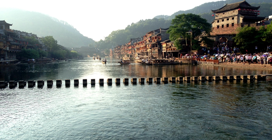 Jumping Rock on the Tuoriver Fenghuang Ancient Town